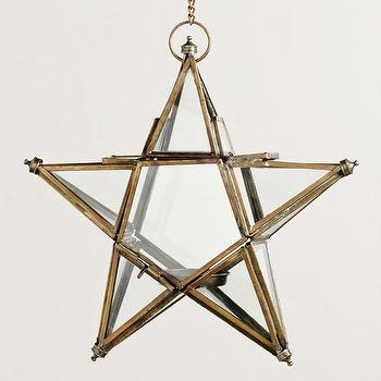 Decor/Accessories - Small Clear Star Lantern | World Market - gold trimmed glass star lantern, glass star shaped candle lantern, star shaped hanging candle holder,