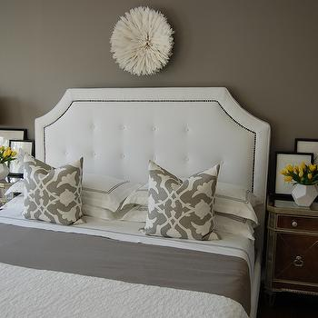 White Juju Hat -Transitional, bedroom, Benjamin Moore Galveston Gray