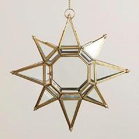 Decor/Accessories - Large Clear Star Lantern | World Market - gold trimmed glass star lantern, glass star shaped candle lantern, star shaped hanging candle holder,