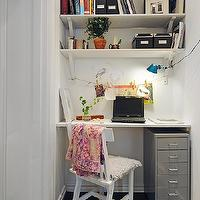 dens/libraries/offices - desk nook, floating desk, office nook, stacked shelves, shelves over desk, shelves above desk, floating desk, metal file cabinet, file cabinet under desk, slate floor,
