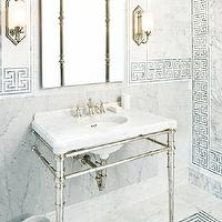 Style at Home - bathrooms - greek key, greek key bath, greek key tiles, greek key tile backsplash, greek key walls, greek key tiled wall, greek key backsplash, folding mirror, mirrored sconces, 2 leg washstand, marble top washstand, geometric tiles, geometric floor, geometric tile floor,