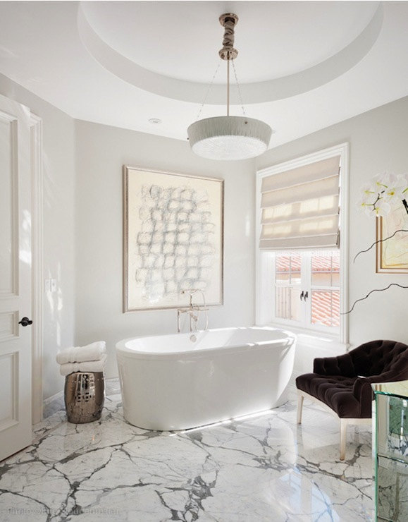 Statuary Marble Contemporary Bathroom On Madison