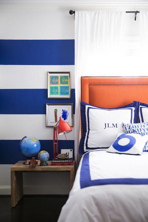 Blue and orange boy 39 s room with white and blue horizontal for Blue and white boys room
