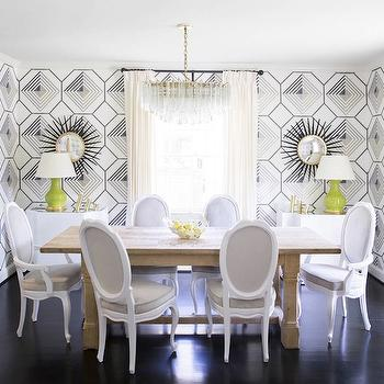 Black and White Geometric Wallpaper, Contemporary, dining room, Domino Magazine