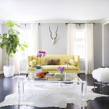 Yellow Sofa, Contemporary, living room, Domino Magazine