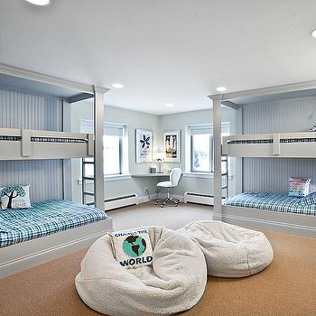 Jaffa Group - boy's rooms: bunk room, kids bunk room, boys bunk room, built in bunk beds, gray bunk beds, bunk beds, plaid bedding, kids bedding, boys bedding, turquoise plaid bedding, blue plaid bedding, turquoise blue plaid bedding, bean bags, kids bean bags, boys bean bags, corner desk, floating desk, kids floating desk, gray floating desk, corner desk, corner floating desk, floating corner desk, gray and blue kids room, gray and blue kids bedroom,