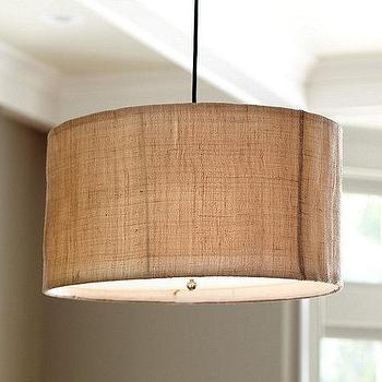 Lighting - Natural Woven 3-Light Pendant | Ballard Designs - natural woven drum pendant, woven drum pendant, burlap drum pendant,