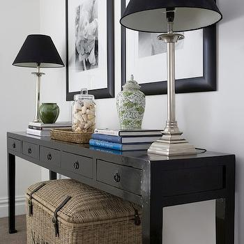 Denai Kulcsar Interiors - entrances/foyers: foyer, entry, entrance, black console table, console table with drawers, black console table with drawers, foyer console table, buffet lamps, black lamp shades, seagrass trunk, seagrass tray,