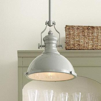 Lighting - Harriet Pendant Enamel Gloss | Ballard Designs - gray enamel pendant light, industrial gray enamel gloss pendant, industrial gray pendant light,