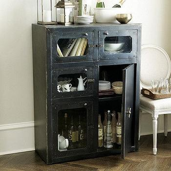 Storage Furniture - Amsterdam Cabinet | Ballard Designs - iron and glass cabinet, industrial cabinet, french industrial style cabinet, industrial style bar cabinet, industrial iron and glass cabinet,