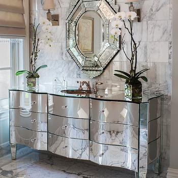 On Madison - bathrooms: statuary marble, statuary marble tiles, statuary marble floor, statuary marble tile floor, mirror washstand, mirrored washstand, mirrored countertop, mirrored vanity, mirrored bathroom vanity, venetian mirror, statuary marble subway tiles, statuary marble walls, statuary marble tiled wall,