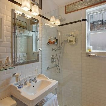 Beveled Subway Tiles, Transitional, bathroom