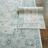 Rugs - Kyra Hand Knotted Rug | Ballard Designs - gray and blue traditional style rug, faded gray and blue traditional style rug, traditional style misty blue colored rug,