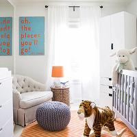 Sally Wheat - Amazing boy's nursery design with gray crib on orange chevron rug ...
