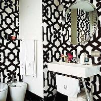 bathrooms - trellis wallpaper, black and white wallpaper, dedar alhambra wallpaper, black and white trellis wallpaper, round mirror, frameless mirror, round frameless mirror, x base washstand, x base vanity, x base bathroom vanity, polished chrome washstand,