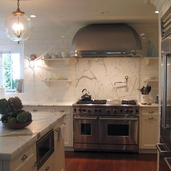 Statuary Marble Backspalsh, Transitional, kitchen, Susan Obercian Design