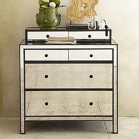 Storage Furniture - Marnie Mirrored Dresser | Pottery Barn - mirrored dresser, mirrored dresser with black trim, mirror art deco style dresser,