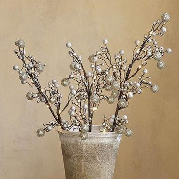 Faux LED Lit Silver Branch, Pottery Barn