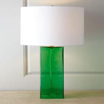 Lighting - Glass Base Table Lamp I Horchow - green glass table lamp, emerald green table lamp, emerald green glass table lamp,
