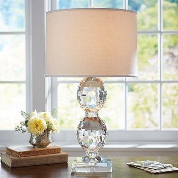 Lighting - Carlotta Faceted Crystal Bedside Lamp Base | Pottery Barn - faceted crystal table lamp, faceted crystal lamp, crystal table lamp,