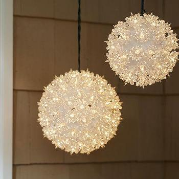 Miscellaneous - Lit Allium Flower | Pottery Barn - led lit christmas decorations, led lit flower decor, hanging led lit white christmas decor,