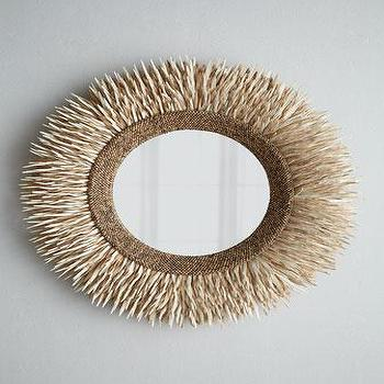 Mirrors - Round Coconut Shell Mirror I Horchow - round coconut shell mirror, coconut shell framed mirror, tropical coconut shell mirror,