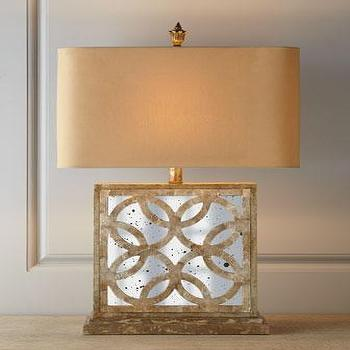 Lighting - Montecito Mirrored Table Lamp I Horchow - mirrored table lamp, capiz shell mirrored table lamp, geometric capiz shell mirrored table lamp,