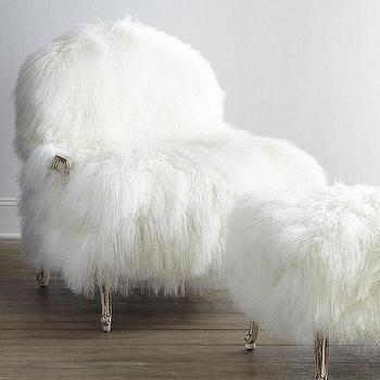 Seating - Old Hickory Tannery Worthen Sheepskin Chair & Ottoman I Horchow - sheepskin chair, sheepskin arm chair, sheepskin ottoman,