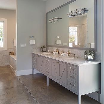 Artistic Designs for Living - bathrooms - gray walls, gray wall color, concrete floors, stamped concrete floors, concrete bathroom floors, gray stamped concrete floors, gray dual vanity, contemporary gray dual sink vanity, contemporary gray vanity, nickel hardware, marble counter, marble countertop, carrara marble, carrara marble countertop, carrara marble counter, dual vanity, his and hers sinks, master bathroom, master bath, vanity length mirror, gray vanity mirror, gray vanity length mirror, mirror inset sconces, sconces inset to mirror, modern bathroom sconce, nickel sconce, modern nickel and white glass sconce, modern faucet, partition wall, bathroom partition wall, gray bathroom, gray double vanity, gray bathroom ideas, gray double washstand, gray mirror, gray lacquered mirror, gray lacquer mirror,