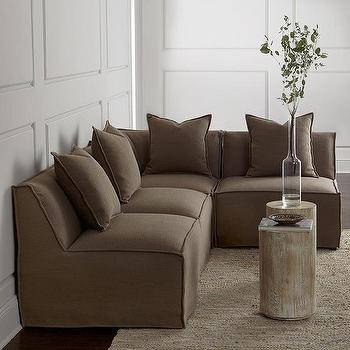 Seating - Massoud Carson Sectional I Horchow - armless sectional sofa, armless sectional with flanged seams, armless taupe sectional sofa,