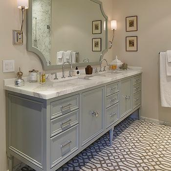 Artistic Designs for Living - bedrooms - trellis tile, trellis tiled floors, gray and white trellis tiled floors, trellis patterned floor tile, trellis patterned bathroom tile, sand walls, sand wall color, towel rail, white towel, gray dual vanity, footed gray dual vanity, gray dual sink vanity, gray sink vanity, nickel hardware, marble counter, marble countertop, gray vanity mirror, gray mirror, cut corner mirror, gray cut corner mirror, nickel wall sconce, nickel wall sconce with white shade, gooseneck faucet, dual sinks, master bath, master bathroom, his and hers sinks, polished nickel sconce, polished nickel sconce with white shade, dual vanity, white and gray marble tile, trellis tiles, trellis tile floor, white and gray trellis tiles, shower niche, shower floor, trellis shower floor, gray mirror, gray lacquer mirror, gray lacquered mirror, statuary marble, stautuary marble countertops,