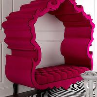 Seating - Haute House Thebes Bench I Horchow - hot pink tufted bench, modern pink tufted bench, tufted pink bench with canopy, pink canopy bench with black trim,