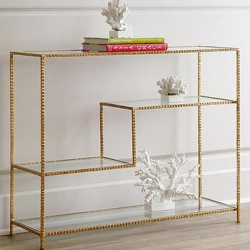 Tables - Arteriors Reiner Console I Horchow - contemporary gold console table, hammered iron gold leaf console table, tiered gold leaf console with glass shelves,