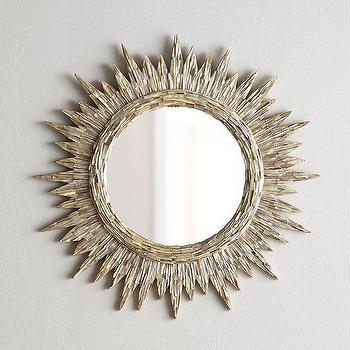 Mirrors - Sunrays Mirror I Horchow - seashell round mirror, round shell sun shaped mirror, seashell sun shaped mirror,