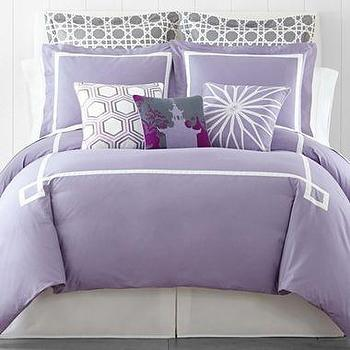 Bedding - Happy Chic by Jonathan Adler Chloe Solid Duvet Cover Set I jcpenney - purple ad white greek key bedding, lilac and white greek key bedding, purple greek key bedding, lilac and white greek key duvet, lilac and white greek kye bedding set,