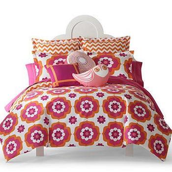 Bedding - Happy Chic by Jonathan Adler Katie Duvet Cover Set & Accessories I jcpenney - pink and orange modern floral duvet cover, pink and orange retro duvet cover, pink and orange retro bedding, pink and orange modern bedding, pink and orange modern duvet cover,