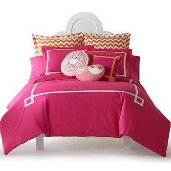 Bedding - Happy Chic by Jonathan Adler Katie Solid Duvet Cover Set I jcpenney - pink bedding with white border, pink duvet cover with white border, modern pink and white bedding, modern pink and white duvet cover,