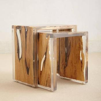 Tables - Encased Nesting Table I anthropologie.com - resin wrapped wood nesting tables, modern nesting tables, resin encased nesting tables,