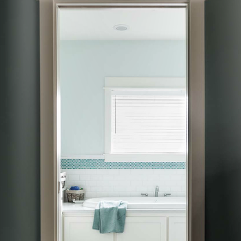 Turquoise Penny Tiles, Contemporary, bathroom, Bungalow Mag