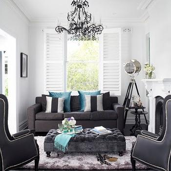 Dark Gray Ottoman, Contemporary, living room, Oliver Interiors