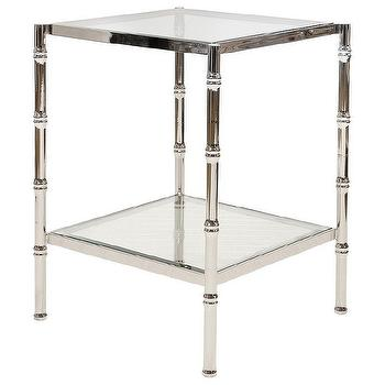 Tables - Worlds Away Serena Nickel Side Table I Zinc Door - nickel faux bamboo side table, nickel bamboo side table, square nickel faux bamboo side table,