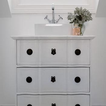 Repurposed Washstand, Cottage, bathroom, Oliver Interiors