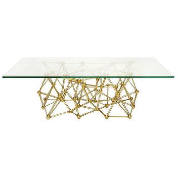 Tables - Worlds Away Molecule Gold Leaf Iron Coffee Table I Zinc Door - gold leaf iron coffee table, modern gold leaf glass top coffee table, sculptural gold based glass topped coffee table,
