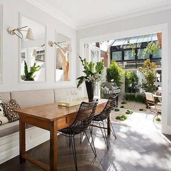 Long Dining Banquette, Eclectic, dining room