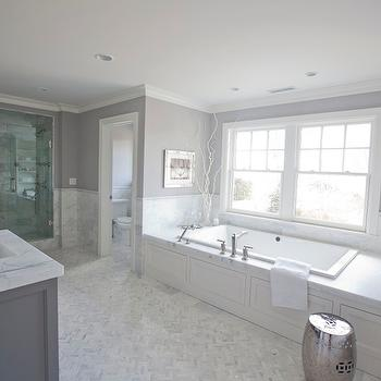 Marble Herringbone Floor, Contemporary, bathroom, Blue Water Home Builders
