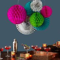 Decor/Accessories - Party In A Box - Multicolor | west elm - paper pom poms, paper fans, party in a box, cocktail shaper, lacquered tray, votive candle holders, multi-colored party in a box, party decorations, collection of party decorations,