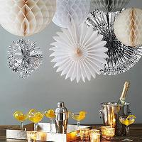 Decor/Accessories - Party In A Box - Snowdrift | west elm - paper pom poms, paper fans, lacquered tray, candle votive holders, metallic colored party decorations, snow colored party decor, party decoration pack, party decoration kit,
