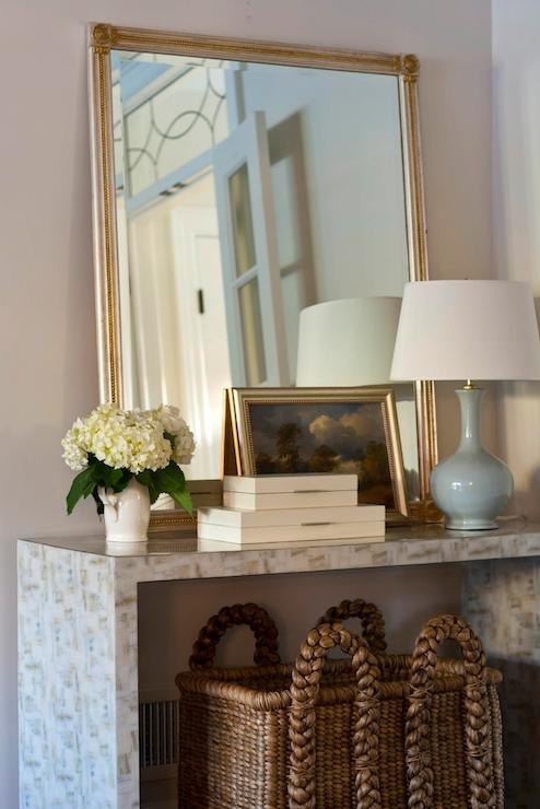 Waterfall Console Table Transitional Entrance Foyer