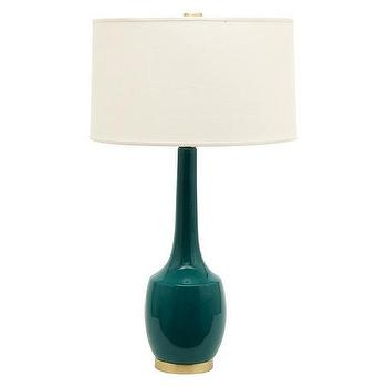 Lighting - Naomi Emerald Lamp | Jayson Home - modern emerald green lamp, emerald green ceramic lamp, tall emerald green and brass table lamp,