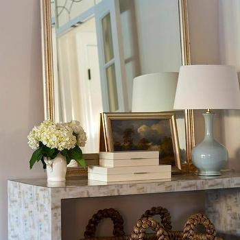 Kate Singer Home - entrances/foyers - foyer, foyer table, foyer console table, console table, waterfall console table, woven basket, silver and gold mirror, baby blue lamp, baby blue gourd lamp, cream boxes, lacquered boxes, cream lacquered boxes, stacking boxes, lacquered stacking boxes,